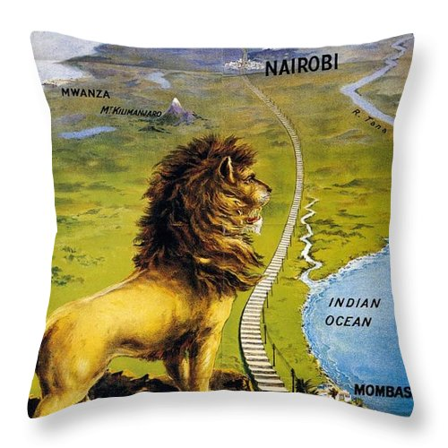 Uganda Throw Pillow featuring the mixed media Uganda Railway - British East Africa - Retro Travel Poster - Vintage Poster by Studio Grafiikka