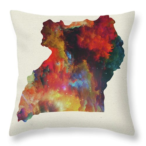 Uganda Throw Pillow featuring the mixed media Uganda Watercolor Map by Design Turnpike