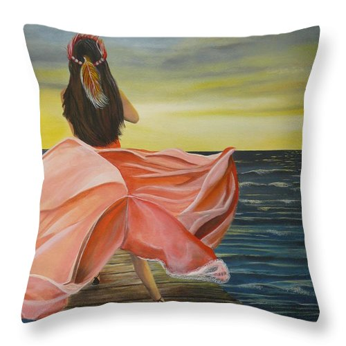 Sunset Throw Pillow featuring the painting Uhane O Ka Welo by Kris Crollard