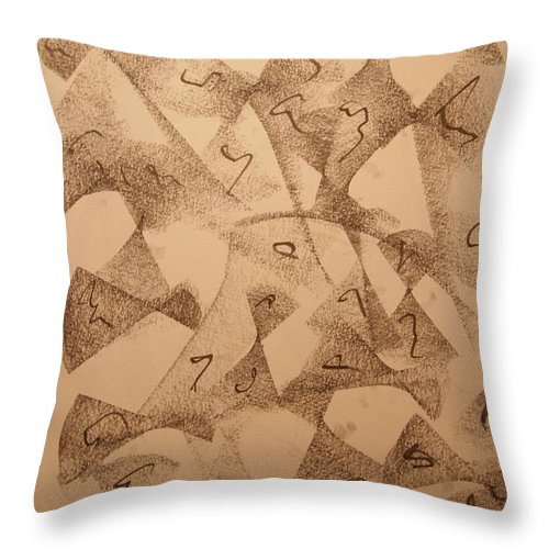 Abstract Throw Pillow featuring the drawing Ultra Sound Life by David Barnicoat