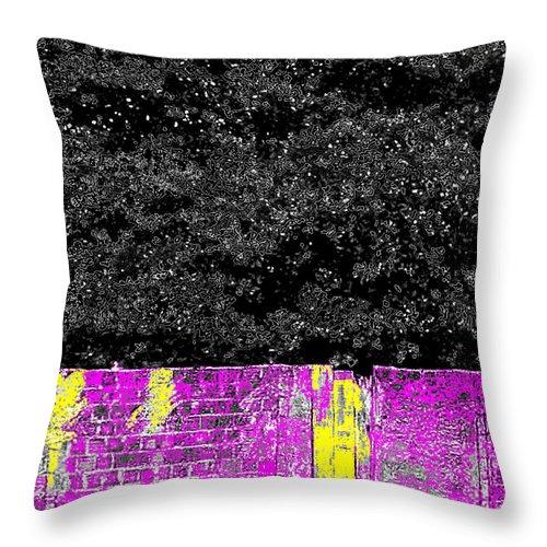 Square Throw Pillow featuring the digital art Um Muro Em Capim Macio by Eikoni Images