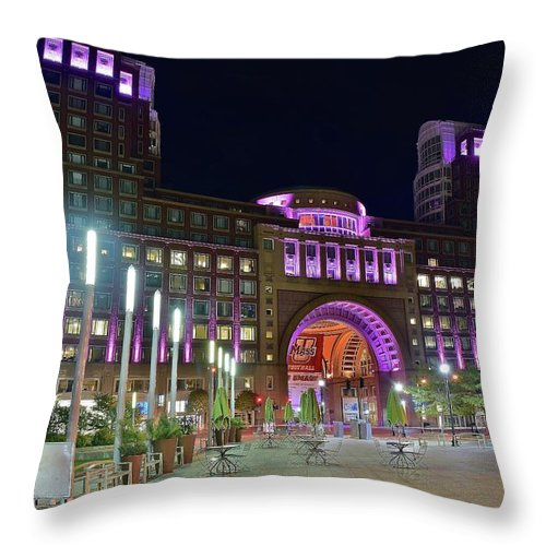 Boston Throw Pillow featuring the photograph Umass Night Image by Frozen in Time Fine Art Photography