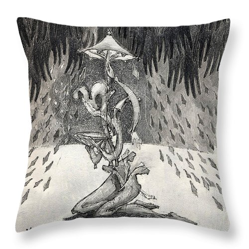 Umbrella Throw Pillow featuring the drawing Umbrella Moon by Juel Grant