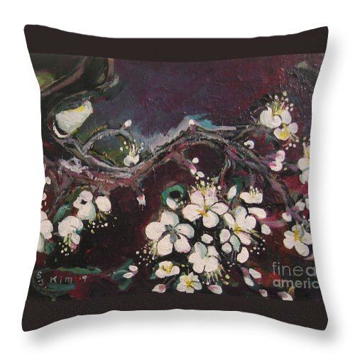 Ume Blossoms Paintings Throw Pillow featuring the painting Ume Blossoms by Seon-Jeong Kim