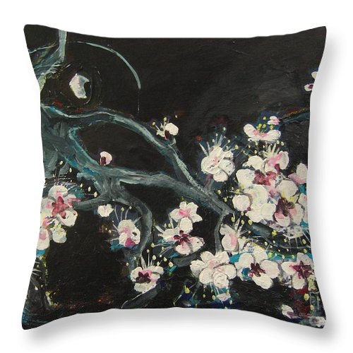 Ume Blossoms Paintings Throw Pillow featuring the painting Ume Blossoms2 by Seon-Jeong Kim