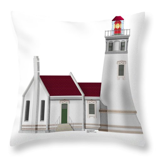 Lighthouse Throw Pillow featuring the painting Umpqua River Lighthouse In Oregon by Anne Norskog
