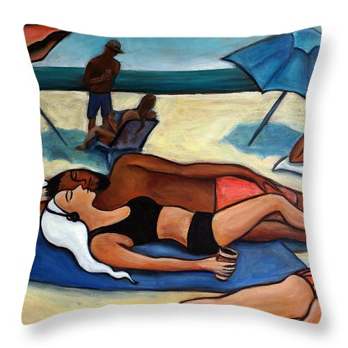 Beach Scene Throw Pillow featuring the painting Un Journee A La Plage by Valerie Vescovi