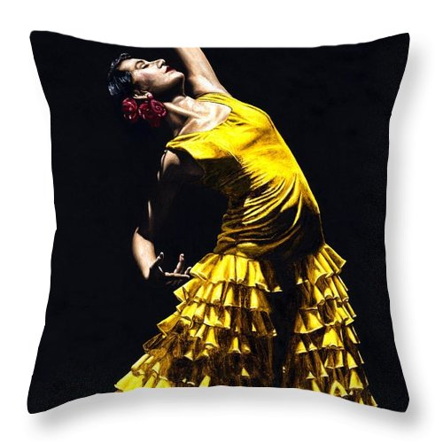Flamenco Throw Pillow featuring the painting Un Momento Intenso Del Flamenco by Richard Young