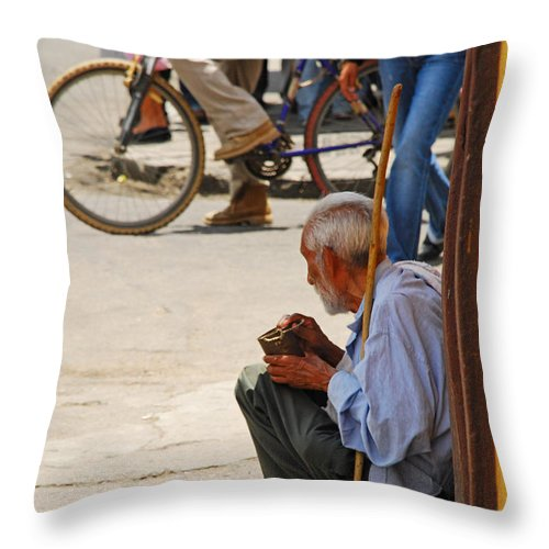 Beggar Throw Pillow featuring the photograph Un Peso Por Favor by Skip Hunt