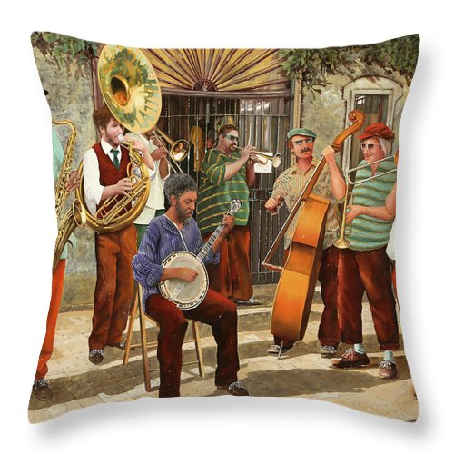 Jazz Throw Pillow featuring the painting Un Po' Di Jazz by Guido Borelli