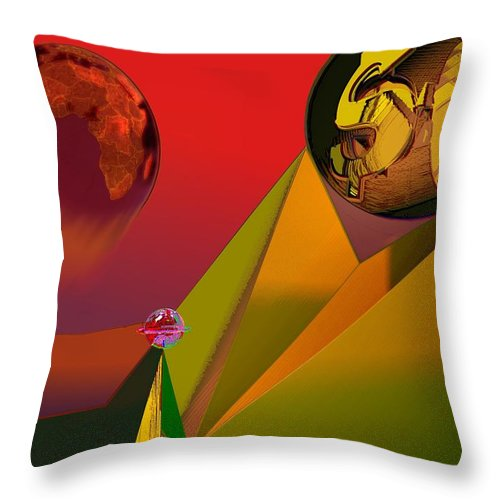 Earth Throw Pillow featuring the digital art Unbalanced-the Source Of Violence by Helmut Rottler