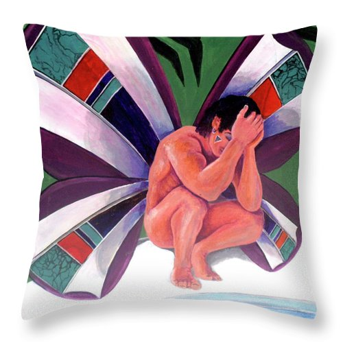 Uncertain Throw Pillow featuring the painting Uncertain by Bobby Jones