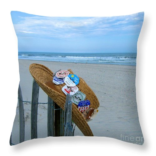 Sea Isle City New Jersey Throw Pillow featuring the photograph Uncle Carl's Beach Hat by Nancy Patterson