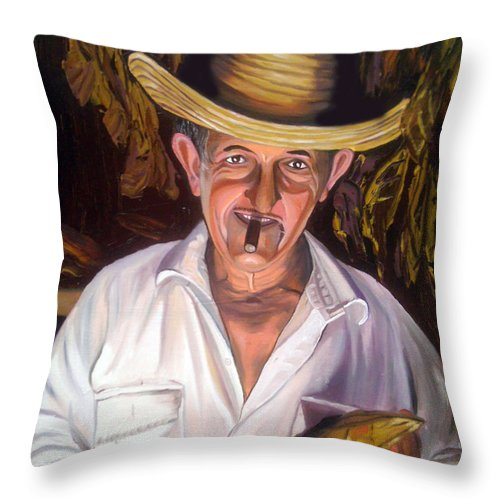 Cuban Art Throw Pillow featuring the painting Uncle Frank by Jose Manuel Abraham