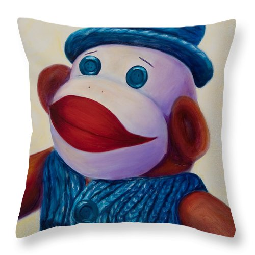 Children Throw Pillow featuring the painting Uncle Frank by Shannon Grissom