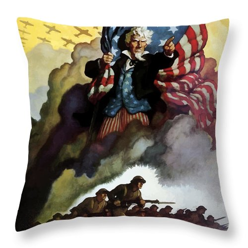 Uncle Sam Throw Pillow featuring the painting Uncle Sam - Buy War Bonds by War Is Hell Store