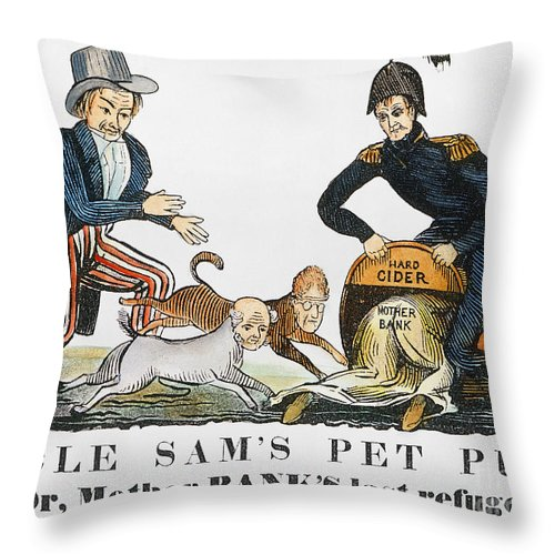 1840 Throw Pillow featuring the photograph Uncle Sam: Cartoon, 1840 by Granger