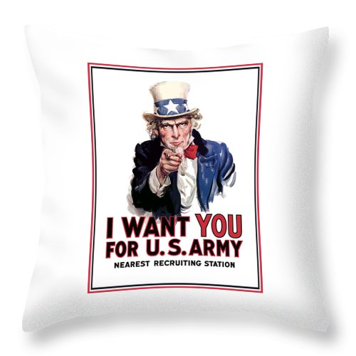 Ww2 Throw Pillow featuring the painting Uncle Sam -- I Want You by War Is Hell Store