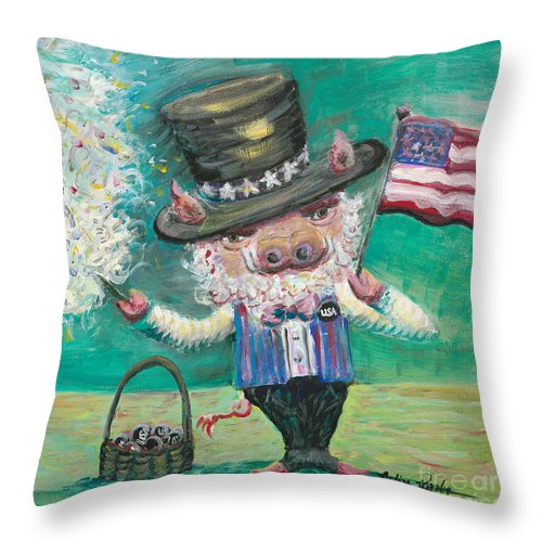 Fourth Of July Throw Pillow featuring the painting Uncle Spam by Nadine Rippelmeyer
