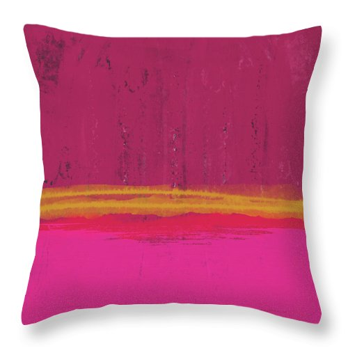 Abstract Throw Pillow featuring the mixed media Undaunted Pink Abstract- Art by Linda Woods by Linda Woods
