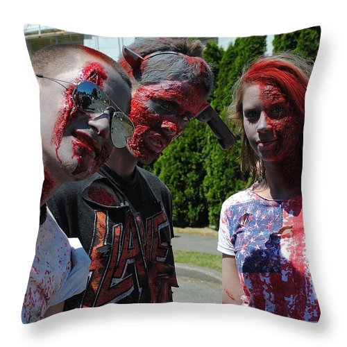 Undead Throw Pillow featuring the photograph Undead Trio by Katy Granger