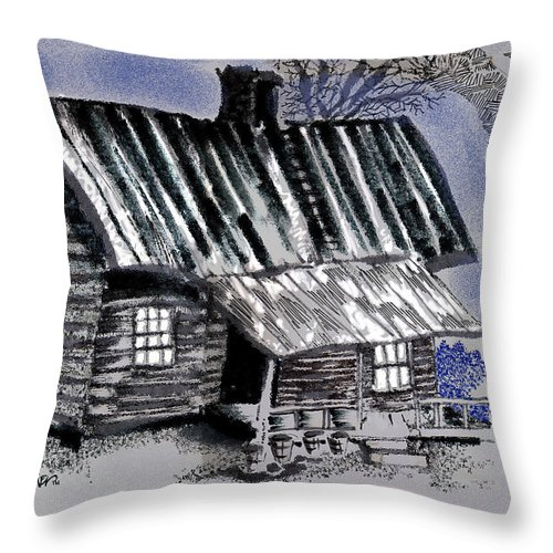 Cabin Throw Pillow featuring the drawing Under a Tin Roof by Seth Weaver