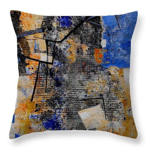 Abstract Throw Pillow featuring the painting Under Construction by Ruth Palmer