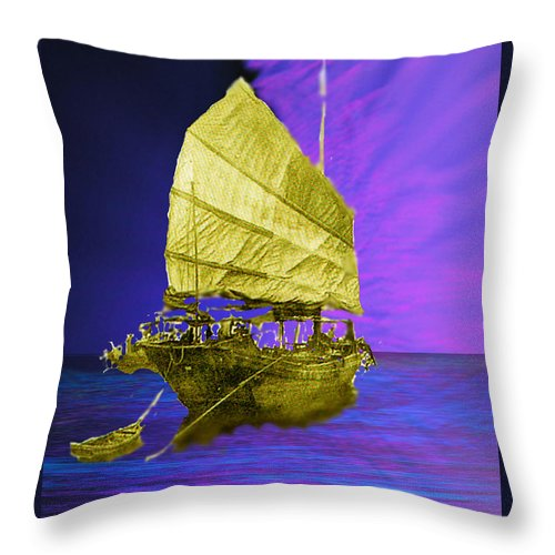 Nautical Throw Pillow featuring the digital art Under Golden Sails by Seth Weaver