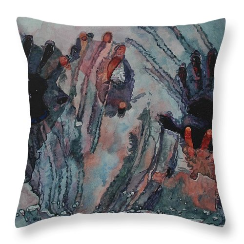 Underneath Throw Pillow featuring the painting Under Ice by Valerie Patterson
