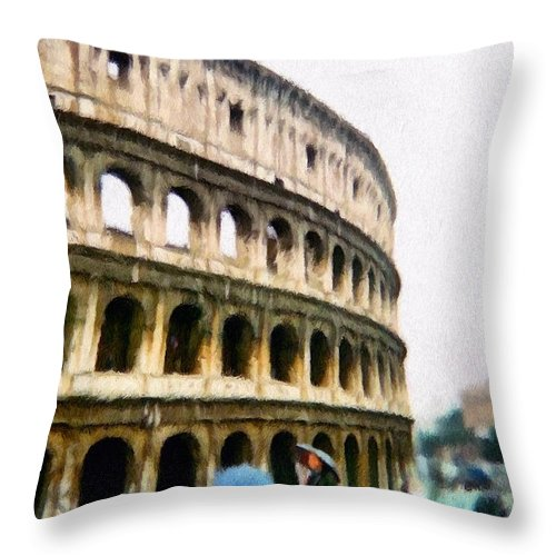 Pale Throw Pillow featuring the painting Under Pale Blue Umbrellas by Jeffrey Kolker