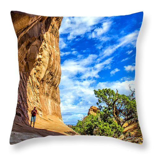 Arches Throw Pillow featuring the photograph Under The Arch by Roberta Bragan