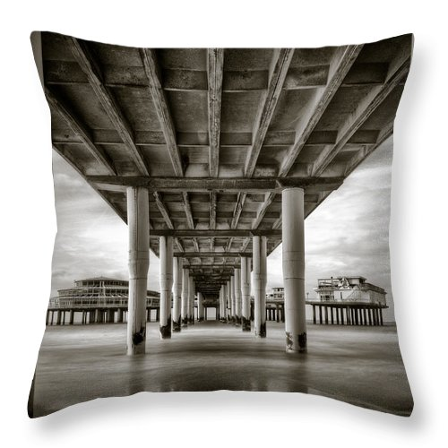 Pier Throw Pillow featuring the photograph Under The Boardwalk by Dave Bowman