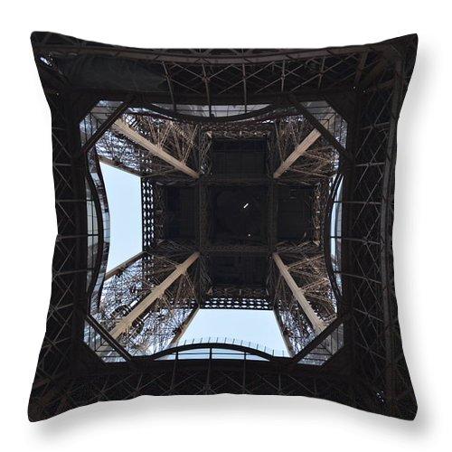 Eiffel Tower Throw Pillow featuring the photograph Under The Eiffel by Dawn Crichton