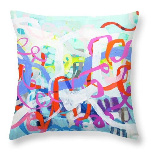 Abstract Throw Pillow featuring the painting Under The Electric Candelabra by Claire Desjardins