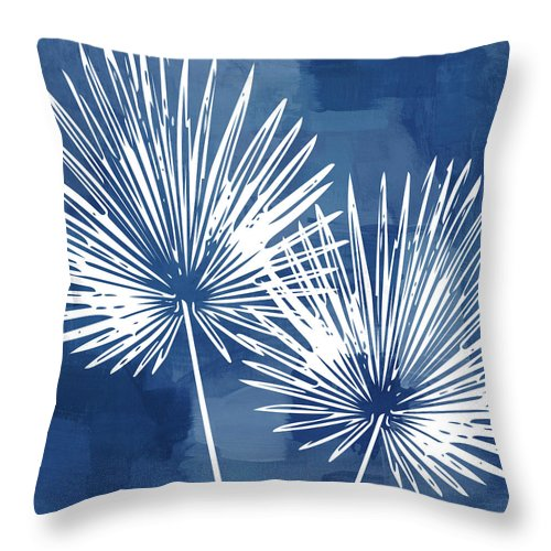 Tropical Throw Pillow featuring the mixed media Under The Palms- Art by Linda Woods by Linda Woods