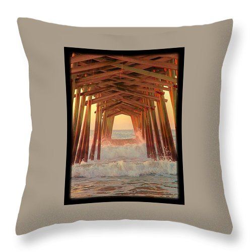 Pier Throw Pillow featuring the photograph Under The Pier At Dawn by Betty Buller Whitehead