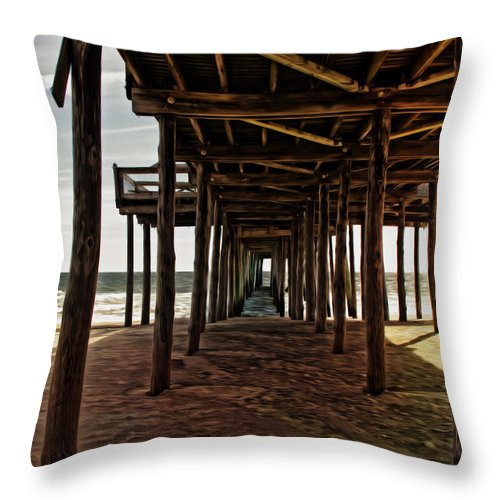 Waves Throw Pillow featuring the photograph Under The Pier by Tom Gari Gallery-Three-Photography