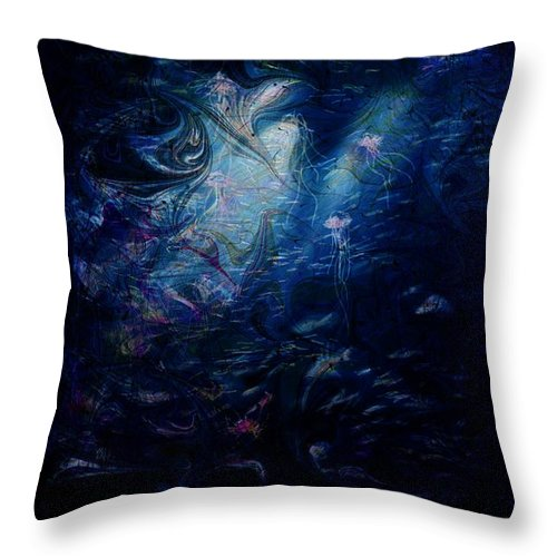 Abstract Throw Pillow featuring the digital art Under the Sea by William Russell Nowicki