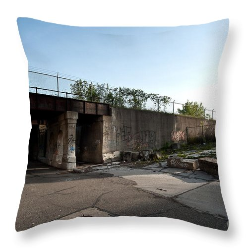 Detroit Throw Pillow featuring the photograph Under The Tracks by Steven Dunn