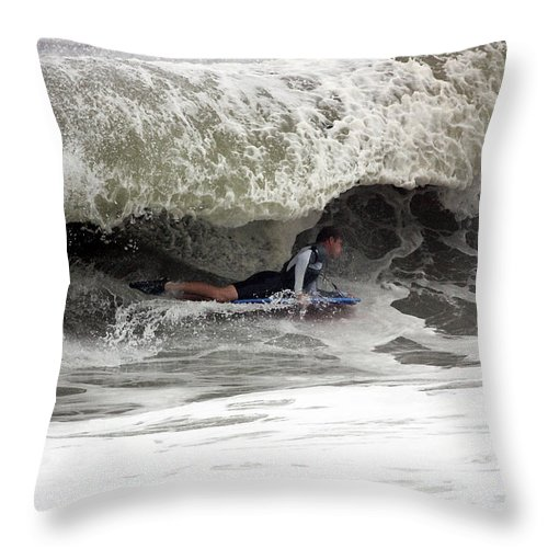 Waves Throw Pillow featuring the photograph Under The Wave by Mary Haber