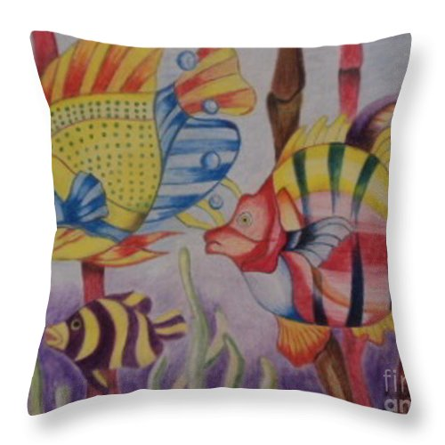 Peace Throw Pillow featuring the painting Under Water by Kenroy Brown