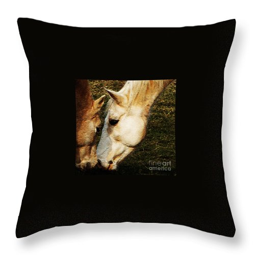 Horses Throw Pillow featuring the photograph Understanding by Linda Shafer