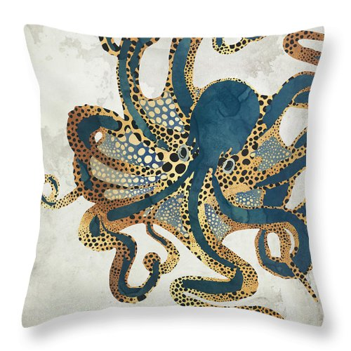 Octopus Throw Pillow featuring the digital art Underwater Dream Vi by Spacefrog Designs