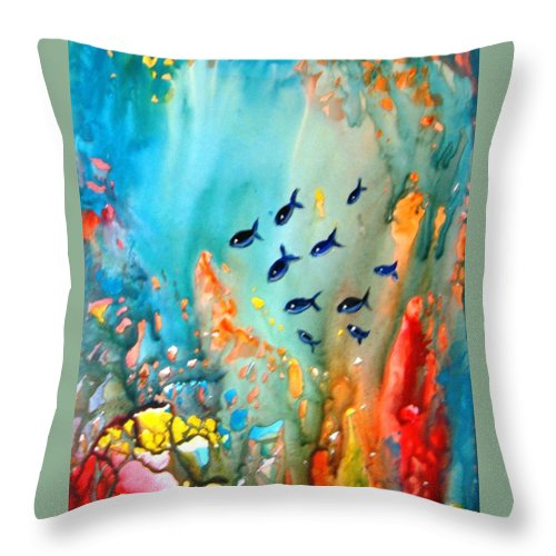Fish Water Magic Under Coral Reef Sunlight Blue Red Orange Green Yupo Paper Sunlight Rocks Throw Pillow featuring the painting Underwater Magic by Manjiri Kanvinde