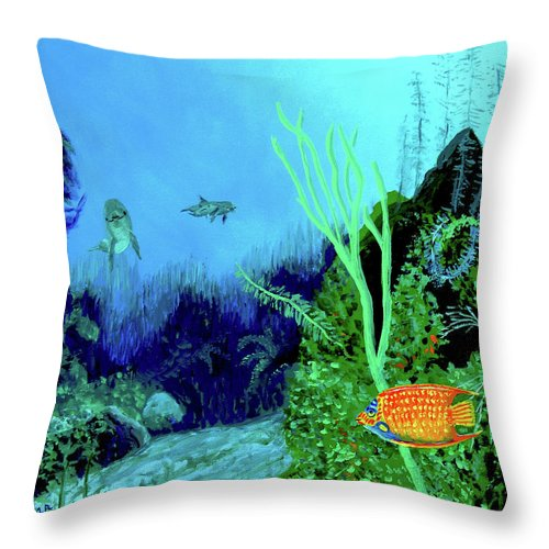 Wildlife Throw Pillow featuring the painting Underwater by Stan Hamilton