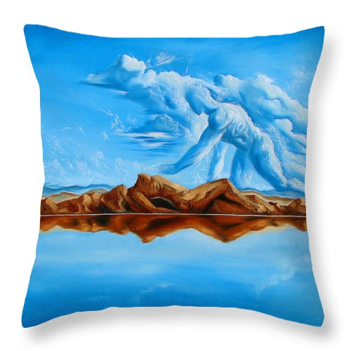 Surrealism Throw Pillow featuring the painting Unfinished Business by Darwin Leon