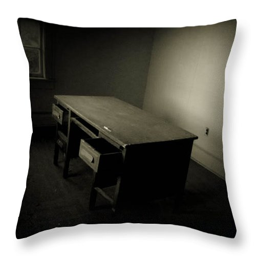 Desk Throw Pillow featuring the photograph Unfinished Business by Jessica Brawley
