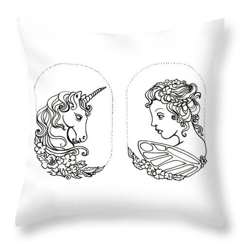 Unicorn Throw Pillow featuring the drawing Unicorn And Fairy Cameo Set by Katherine Nutt
