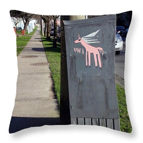 Mail Box Throw Pillow featuring the photograph Unicorn Mail Delivery by Minaz Jantz