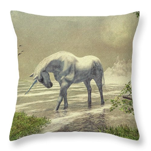 Unicorn Throw Pillow featuring the painting Unicorn Moon by Bob Orsillo
